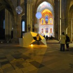 5 Juillet 2014: 4ème Nuit des Eglises à l'initiative de la revue Narthex, sous l'égide de la Conférence des Ev. de France. Installation du plasticien Armel NÉOUZE. Collégiale Notre-Dame du Fort. Etampes (91) France.  July 5th, 2014: The Night of Churches. Churches open their doors all the night for artistic, cultural and spiritual events. Notre-dame du Fort Ch. Etampes (91) France.